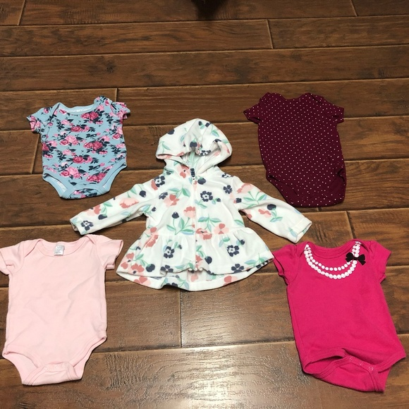 Other - 3-6M Baby Girl Bodysuits & Floral Jacket